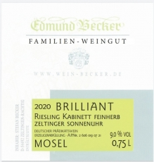 2020 Brillant Zeltinger Sonnenuhr Riesling Kabinett feinherb 9,0 Vol% Alk